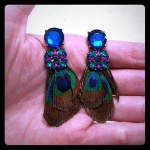 Jewelry - 🐦💎 PEACOCK FEATHER Drop Earrings 💎🐦